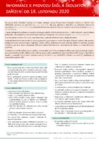 Informace k provozu škol a školských zařízení od 18. 11. 2020